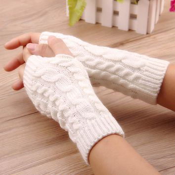 WENDYWU 2017 women gloves Stylish hand warmer winter gloves women Arm Crochet Knitting faux Wool Mitten warm Fingerless Gloves