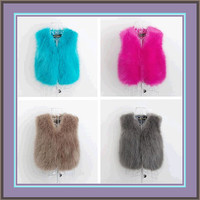Color Dyed Long Hair Faux Fur Fashion Short Vests Worn with everything!