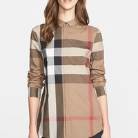 Women's Burberry Brit Check Pattern Cotton Shirt,