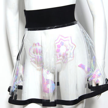 Clear vinyl circle skirt with iridescent symbols lettering sci fi weird abstract cyber festival