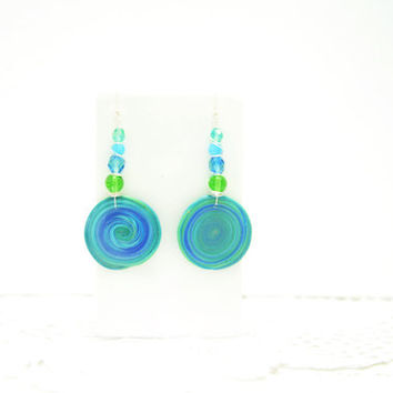 Blue green round earrings. Polymer clay. Wire wrapped. Geometric earrings OOAK