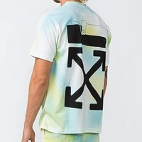 OFF WHITE Summer Hot Sale Tie-Dye Print Short Sleeve T-Shirt Top