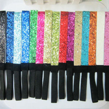 Mix 10pcs GLITTERY Headband Glitter Stretch SPARKLY Softball Sports Headbands !