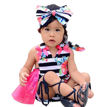Newborn Baby Girl Clothes Flower Jumpsuit Romper Dress+ Headband Outfits childrens fancy girls clothing Cute Lovely girl clothes