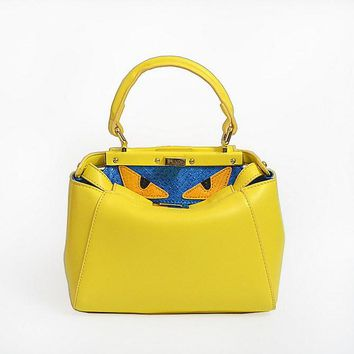 Hot Sale FENDI Fashion Yellow textured leather shopper tote handbag bag