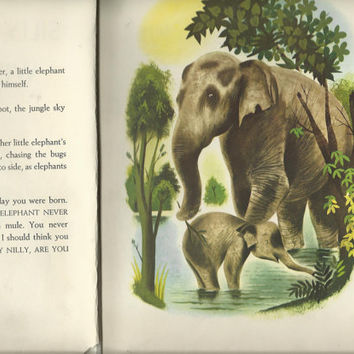 Vintage 1953 Children's Hard Cover Book, Silly Willy Nilly By Leonard Weisgard, Cute Elephant Story, Wonderful Color Illustrations