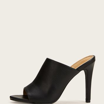 Peep Toe Stiletto Heeled Mules