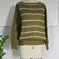 Vintage 1950s Mohair + Stripe Crochet Sweater