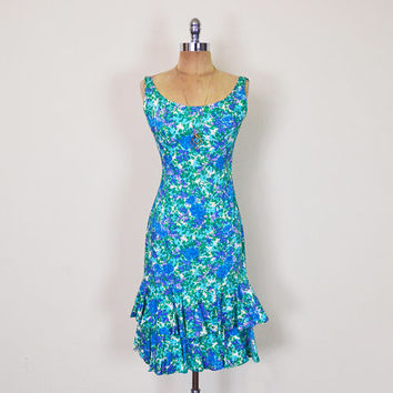 Vintage 50s 60s 70s Blue Floral Dress Floral Print Dress Body Con Bodycon Wiggle Dress Tier Ruffle Dress Party Dress Pinup Pin Up Bombshell