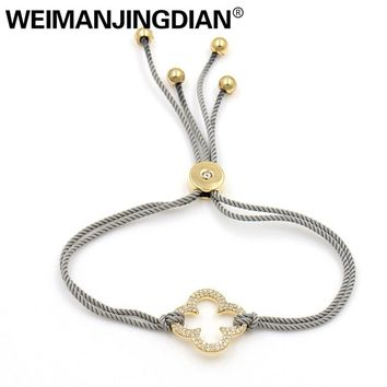 WEIMANJINGDIAN New Arrival Wax Rope Chain Adjustable Cubic Zirconia Crystal CZ Pave 4 Leaf Clover Bracelets for Women