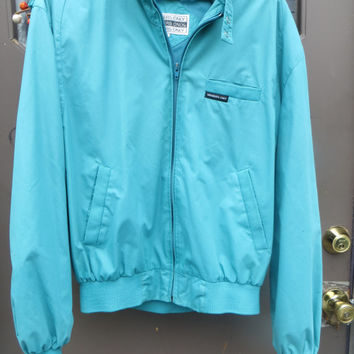 80s members only  teal turquoise blue    jacket vintage jacket cafe racer mens size  42