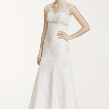 Cap Sleeve Lace Over Satin Gown with Illusion Back - Davids Bridal