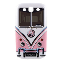Samsung Galaxy S3, SIII Hard-Shell Case, Pink VW Camper Van (Printed Back and Side)