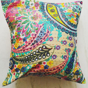 """16x16"""" multicolor Kantha Pillow Cover, Kantha Throw Pillow, Kantha Cushion Cover,  16x16 Floor Pillow, Indian Pillow"""