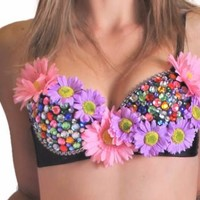 Pink and Purple Daisy Fever Rave Bra