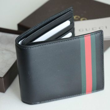 $360 NEW 2015 GUCCI ZIP BLACK SOHO GG LEATHER WALLET BAMBOO MENS