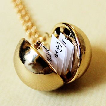 Secret Message Ball Locket Pendant Necklace Jewelry