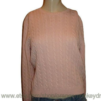vintage RALPH LAUREN FISHERMAN cable Pink comfy pullover Jumper women chunky sweater Small medium
