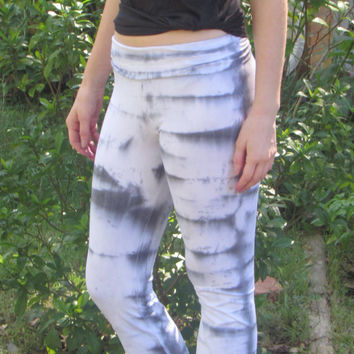 Large Black and Grey Tie Dyed Yoga Pants