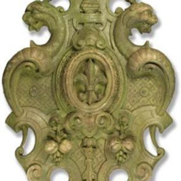 Victorian Crest French Fleur de Lis Garden Historic European Wall Plaque 50H