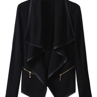 Black Lapel Irregular Long Sleeve Stitching Thin Blazer