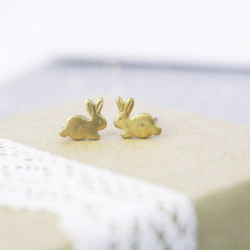 Tiny Bunny Earrings Post Studs Rabbits / Miniature Studs / Simple / Gold