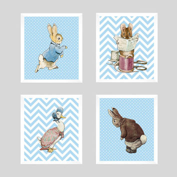 Set of 4 Peter Rabbit on Powder Blue Background Prints CUSTOM COLORS Art Prints for Nursery Wall Decor Custom Colors Modern prints  8x10