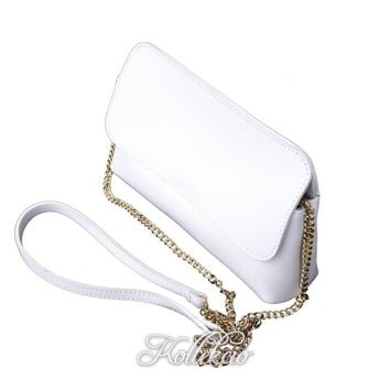 Italian White Genuine Leather Clutch with Removable Shoulder Strap