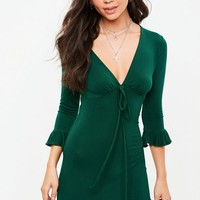 Missguided - Green Basic Tie Front Tea Dress