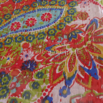 Red Color Theme Paisley Kantha Quilt, Twin Size Printed Bed Cover, Handmade Kantha Throw, Reversible Kantha Bedspread, Bohemian