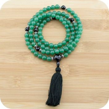 Green Aventurine Mala with Faceted Black Onyx