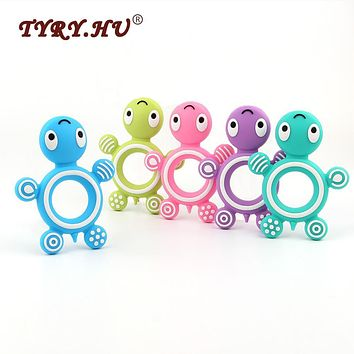 TYRY.HU Tortoise Shaped BPA Free Silicone Beads Baby Teether DIY Baby Necklace Accessories Chewable Teething Tooth Care Products