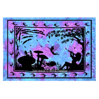Turquoise Blue Alice in Wonderland Tapestry, Fairy Tie Dye Tapestry Wall Hanging on RoyalFurnish.com