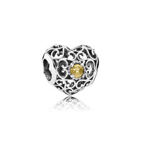 PANDORA | November Signature Heart, Citrine