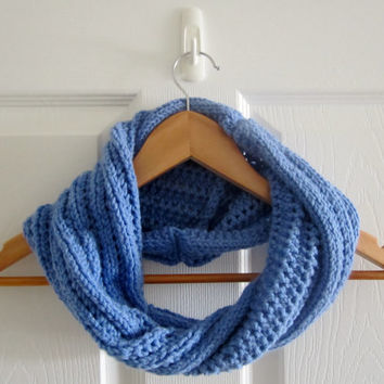 Periwinkle Blue Cowl - Hand Knit Cowl - Knitted Cowl - Circle Scarf - Acrylic Cowl - Infinity Scarf - Knit Neckwarmer - Knitted Tube Scarf