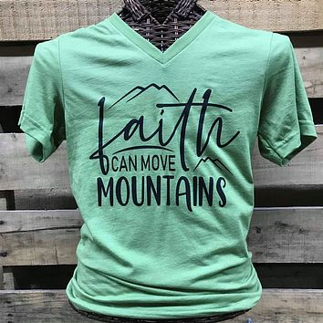 Southern Chics Apparel Faith Can Move Mountains V-Neck Canvas T Shirt
