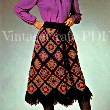 INSTANT DOWNLOAD Granny Square SKIRT 70s Vintage Crochet Pattern Granny Square Mosaic Skirt Fun Fringed Patchwork Midi Hippy Skirt One Size