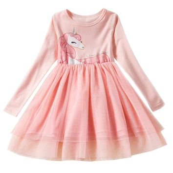 Long Sleeve Unicorn Dress For Girls Clothing Child Halloween Costume Baby Girl Clothing School Daily Wear Kids Casual Clothes