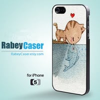 Cat Kiss Fish - iPhone 5 Case iPhone 5 Cover iPhone Case Hard Plastic or Silicon Rubber iPhone Cover for iPhone 4 / 4S / iPhone5 Case