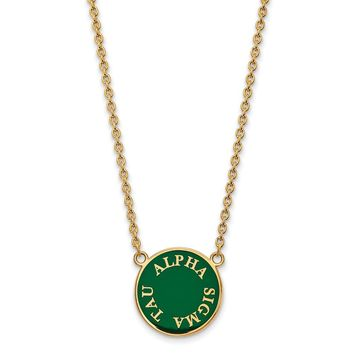 14K Plated Silver Alpha Sigma Tau Large Enamel Necklace