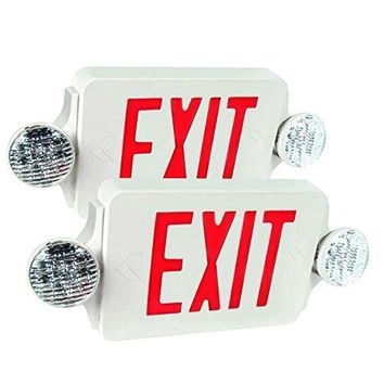 2 Packs of LED Red Exit Sign Emergency Light Combo with Battery Back-Up UL924 ETL listed