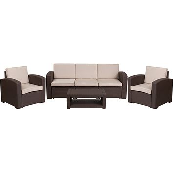 Outdoor Contemporary Seating Furniture Set - Chocolate