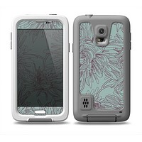 The Teal Aster Flower Lined Skin for the Samsung Galaxy S5 frē LifeProof Case