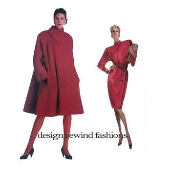 Vogue 2186 COAT Skirt & Top Pattern Flared Coat Wide Collar 80s Oscar De La Renta American Designer Womens Sewing Patterns UNCuT Size 6 8 10