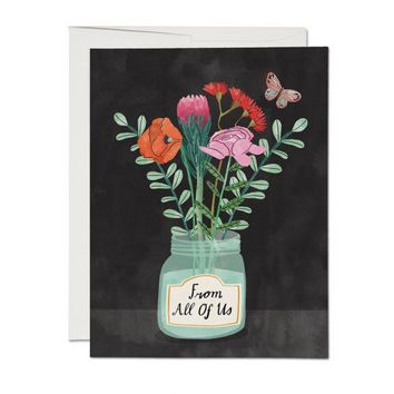 RED CAP CARDS FLOWERS FROM US CARD