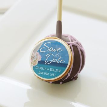 Elegant Ocean Beach Summer Save the Date Cake Pops