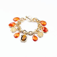 Oval Facet Faux Gem Stone Pendants Bracelet