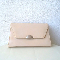 90s vintage ivory white evening clutch, wedding bag, small retro party pouch, minimalist purse, small shoulder bag