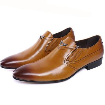 Autumn Style Genuine Leather Slip On Men Formal Shoes Wedding Party Pointed Toe Business Dress Shiny Footwear