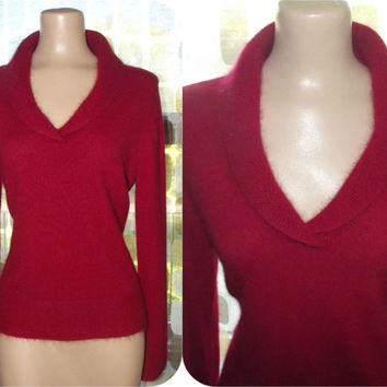 Vintage 80s 90s Crimson RED Angora Sweater Shawl Collar Large/ XL Retro 50s Style